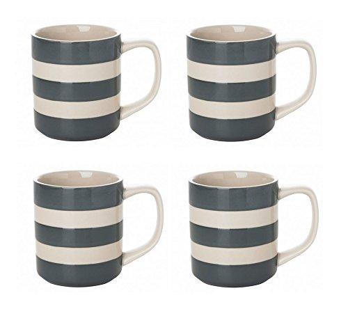 Cornishware Tin Grey and White Stripe Set of 4 Coffee Cups Mugs 10oz