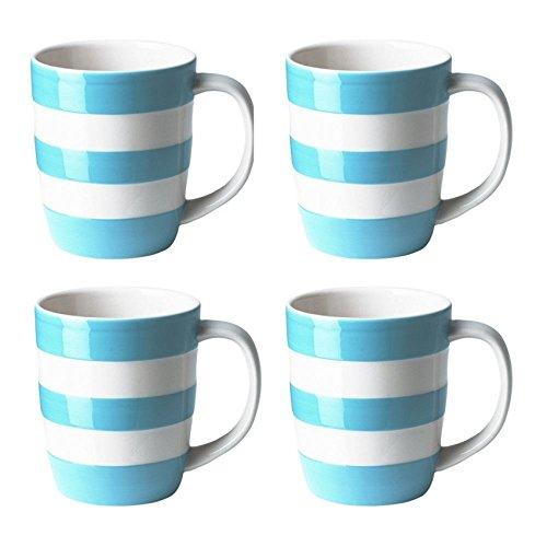 Cornishware Turkish Blue and White Stripe Set of 4 Coffee Cups Mugs 12oz