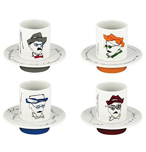 Vista Alegre Porcelain Heteronimos Fernando Pessoa Tribute Set Of 4 Coffee Cups Saucers
