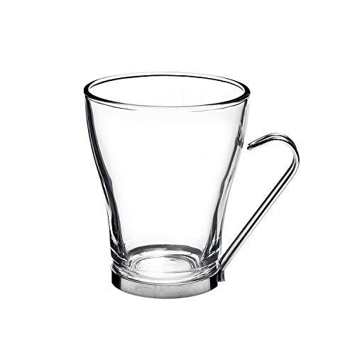Bormioli Rocco Oslo Cappuccino Glass Cups 4 Set 75 Oz  Tempered Glass Ergonomic Stainless Steel Handles Dishwasher Safe  For Coffee Drinks Beverages Latte Macchiato Espresso Mocha More