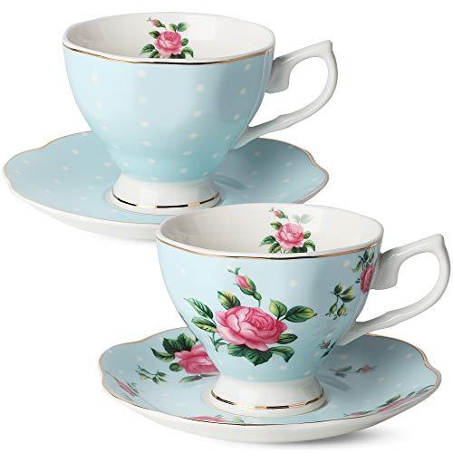 BTäT- Floral Tea Cups and Saucers Set of 2 Blue - 8 oz with Gold Trim and Gift Box Coffee Cups Floral Tea Cup Set British Tea Cups Bone China Porcelain Tea Set Tea Sets for Women Latte Cups