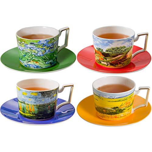 Gute Kitchen Vincent Van Gogh Bone China Tea Cup and Saucer - Set of 4