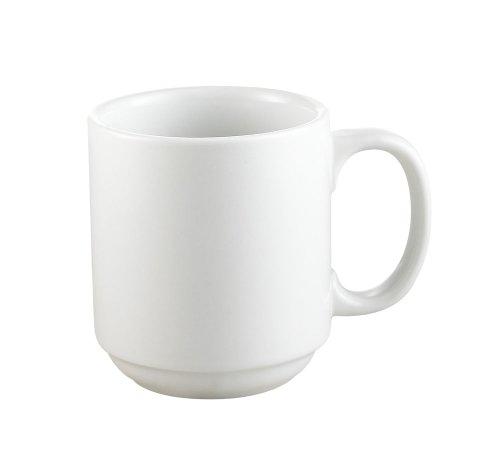 CAC China PRM-10-P 10-Ounce Porcelain Round Stacking Mug 3-14-Inch Super White Box of 36