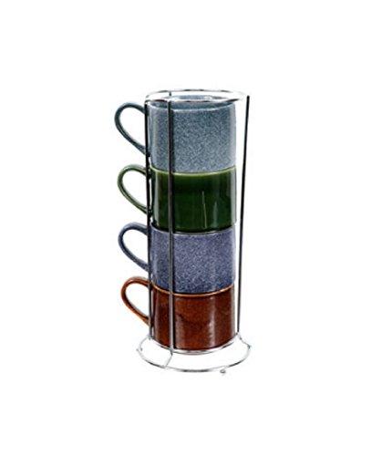 DEI Reactive Glaze Stacking Mug Set with Wire Rack Set of 4