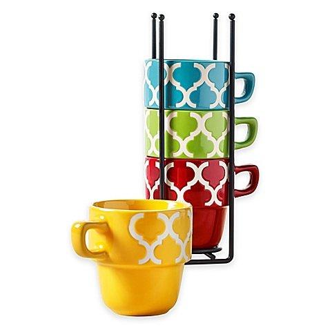 Tabletops Gallery Tile 5-Piece Stacking Mug Set