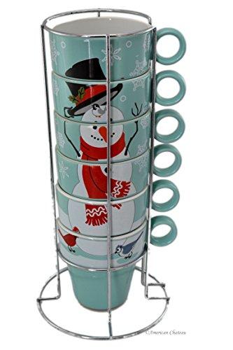 Set 6 Porcelain Snowman 8oz Stackable Christmas Coffee Mugs Cups on Chrome Rack
