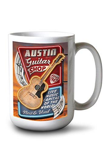 Austin Texas - Guitar Shop Vintage Sign 15oz White Ceramic Mug