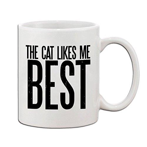 ClarkJosh The Cat Likes Me Best Funny Pet Coffee Tea White Ceramic Mug Cup 11oz