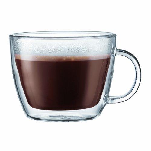 Bodum Bistro Double-Wall Insulated Glass Cafe Latte Mug 15-Ounce Set of 2