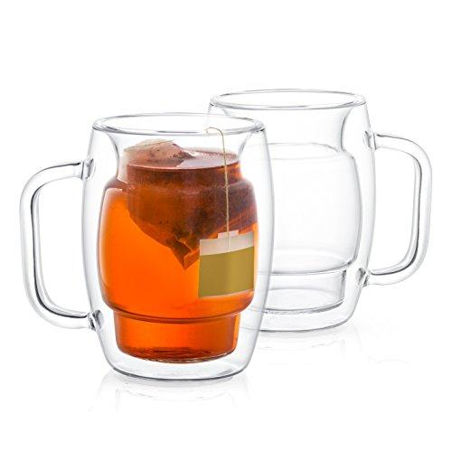 JoyJolt Cadus Glass Coffee Cups Double Wall Insulated Mugs Set of 2 Tea Glasses 10-Ounces