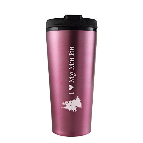 16 oz Travel Mug Tumbler -I love my Min Pin-Pink