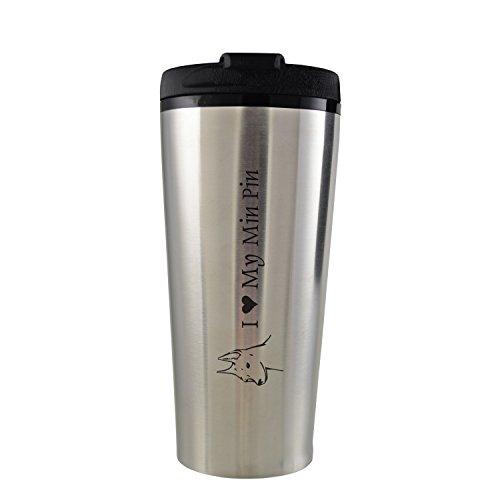 16 oz Travel Mug Tumbler -I love my Min Pin-Silver