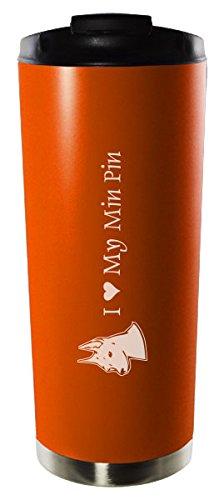16oz Stainless Steel Vacuum Insulated Travel Mug Tumbler-I love my Min Pin-Orange