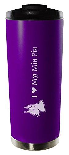 16oz Stainless Steel Vacuum Insulated Travel Mug Tumbler-I love my Min Pin-Purple