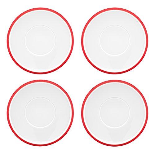 Dansk Kobenstyle 4-Piece Teacup Saucer Set Chili Red