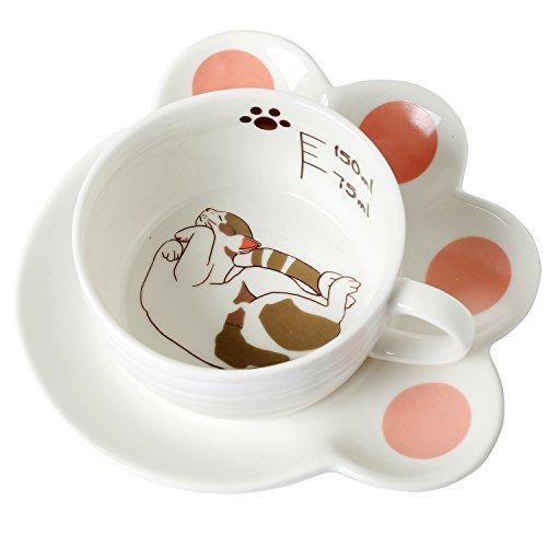 Sleeping Cat Design White Ceramic 5 oz Teacup Paw Shaped Saucer Set