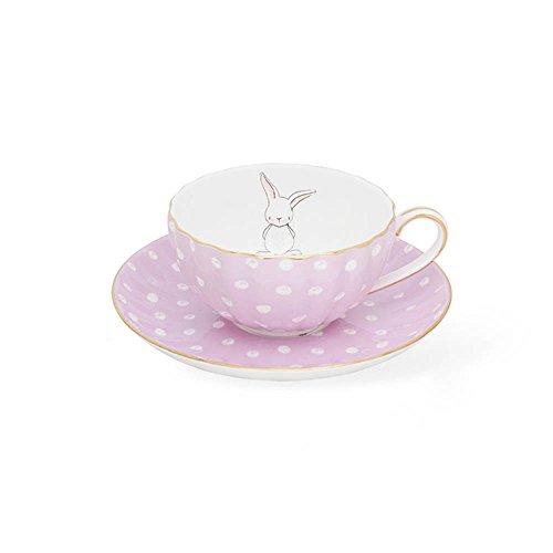 65 OZ Polka Dot Cute Rabbit Design Coffee Cup Saucer Sets  High Quality Bone China British Afternoon Black Tea Tea Cup Mug Kit Light purple