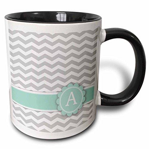 3dRose 3dRose Letter A monogram on grey and white chevron with mint - gray zigzags - zig zags personalized initial - Two Tone Black Mug 11oz mug_154220_4  BlackWhite