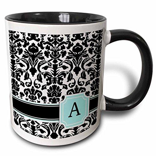 3dRose Letter A personal monogrammed mint blue black and white damask pattern - classy personalized initial - Two Tone Black Mug 11oz mug_154350_4 11 oz BlackWhite