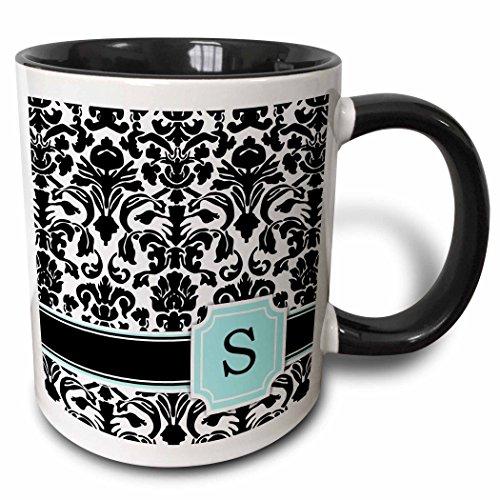 3dRose Letter S personal monogrammed mint blue black and white damask pattern - classy personalized initial - Two Tone Black Mug 11oz mug_154368_4 11 oz BlackWhite