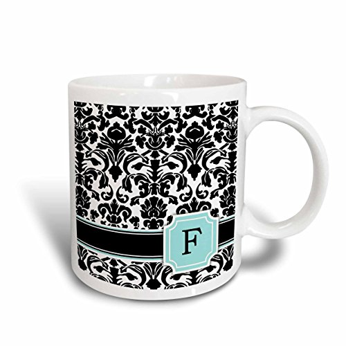 3dRose mug_154355_1 Letter F Personal Monogrammed Mint Blue Black and White Damask Pattern Classy Personalized Initial Ceramic Mug 11 oz White