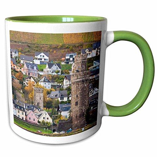 3dRose Danita Delimont - Germany - Germany Oberwesel watch tower by the Rhein River autumn - 11oz Two-Tone Green Mug mug_227416_7
