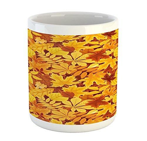 Autumn Mug by Ambesonne Shady Fall Oak Maple Tree Leaves on Faded Tones Seasonal Foliage Artwork Printed Ceramic Coffee Mug Water Tea Drinks Cup Earth Yellow Marigold