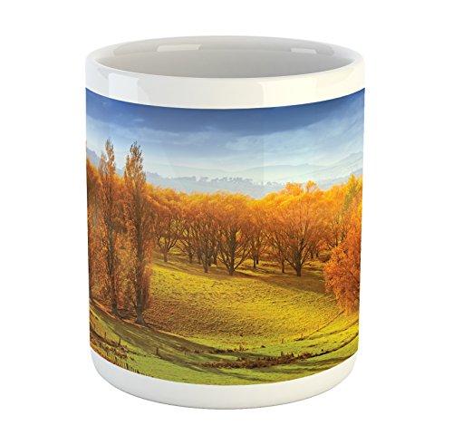 Autumn Mug by Lunarable Sunrise in Autumn in New Zealand Leaves Forest Foliage Hillside View Printed Ceramic Coffee Mug Water Tea Drinks Cup Orange Apple Green Blue