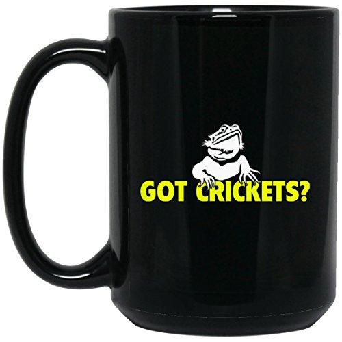 Bearded Dragon - Got Crickets Yellow Large Black Mug