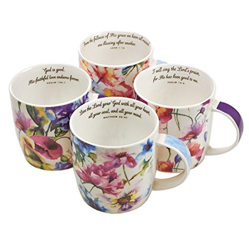 Christian Art Gifts Ceramic CoffeeTea Mug Set for Women  Seeds of Love Garden Blooms Design Bible Verse Mug Set  Boxed Set4 Coffee Cups