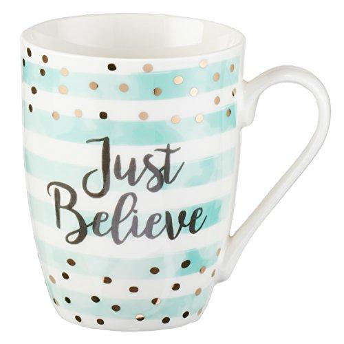 Cute Inspirational CoffeeTea Mug for Women  Just Believe Motivational Mug  Pastel Mint Ceramic Coffee Cup 11oz