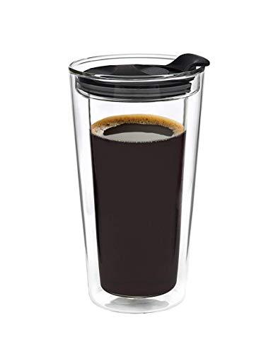 Glass Travel Mug Tumbler Double Wall Cup For CoffeeTea - 16oz