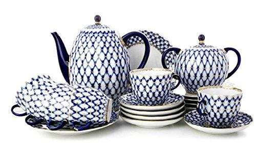 Lomonosov Porcelain Coffee Set Tulip Cobalt Net 20 pc for 6 persons