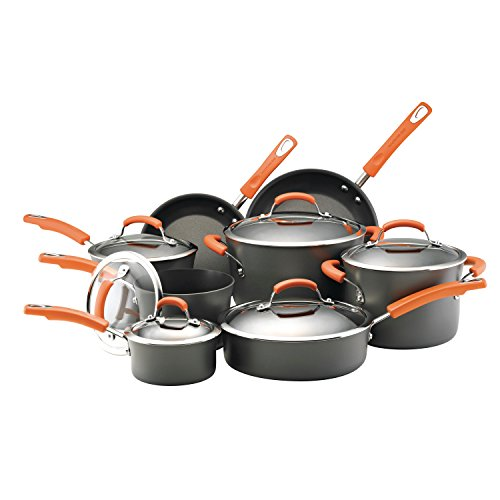Rachael Ray 87000 Brights Hard Anodized Nonstick Cookware Pots and Pans Set 14 Piece Gray with Orange Handles
