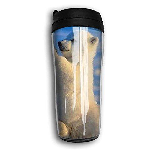 Adorable Polar Bear Unisex Fashion Travel Coffee Mug Cup Curved Outer Layer Travel Tumbler Mug-350ml Patterned Travel Mug Works Great For Ice DrinkHot Beverage Carrier Gift For Kids Men Women
