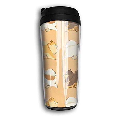 Cute Pomeranian Unisex Car Travel Coffee Mug Cup Curved Outer Layer Travel Tumbler Mug-350ml Patterned Travel Mug Works Great For Ice DrinkHot Beverage Carrier Gift For Kids Men Women