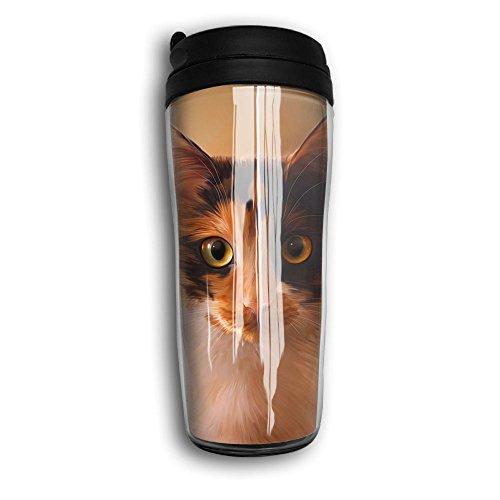Unisex Kitten Gaze Unisex Humorous Travel Coffee Mug Cup Curved Outer Layer Travel Tumbler Mug-350ml Patterned Travel Mug Works For Ice DrinkHot Beverage Carrier Gift