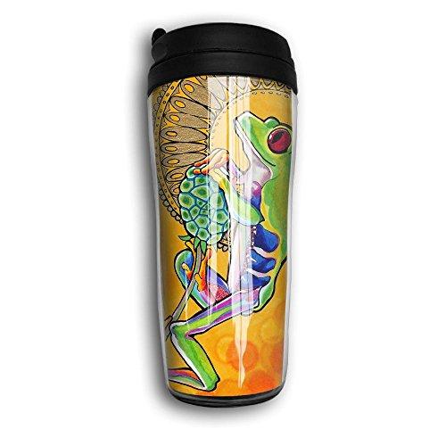 Unisex Outdoor Cool Frog Travel Coffee Mug Cup Curved Outer Layer Travel Tumbler Mug-350ml Patterned Travel Mug Works Great For Ice DrinkHot Beverage Carrier For Kids Men Women