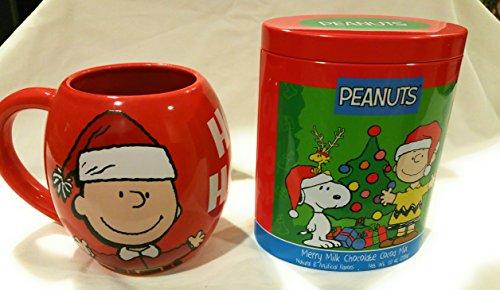 Jumbo Red Charlie Brown and Snoopy Santa Mug and Merry Milk Chocolate Cocoa Mix