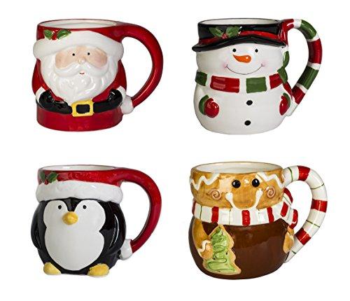 Set of 4 Snowman Gingerbread Man Santa and Penguin 12 ounce Ceramic Holiday Coffee Mugs
