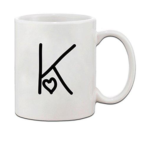 K Love Hearts Initial Monogram Personalized Letter K Ceramic Mug Coffe Cup 11 oz
