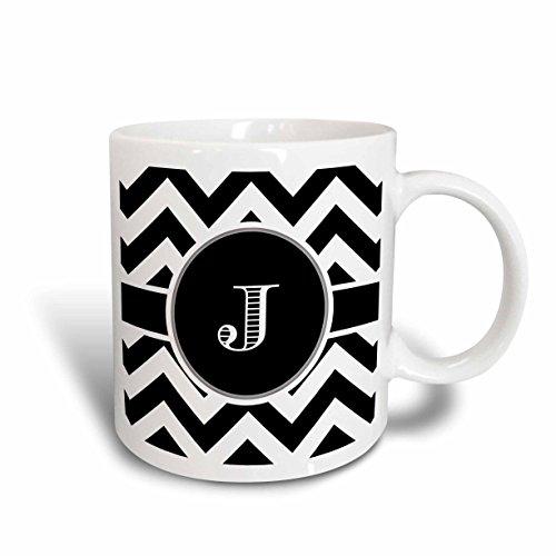 3dRose 222072_6 Chevron Monogram Initial J Mug 11 oz BlackWhiteBlue