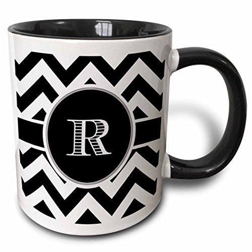 3dRose 222080_4 Black And White Chevron Monogram Initial R Mug 11 oz