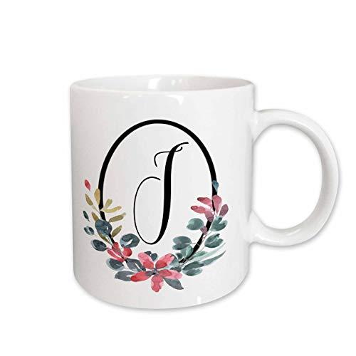 3dRose 274051_1 Black Oval Frame Pink and Blue Watercolor Floral Monogram Initial J Mug 11 oz White