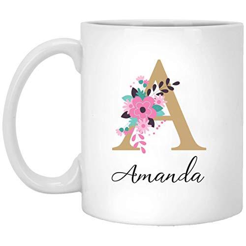 Best Friends Monogram Mugs Gift For Coffee Lovers Custom Gold Floral Mug GirlFriend Gift Idea MUG 11oz
