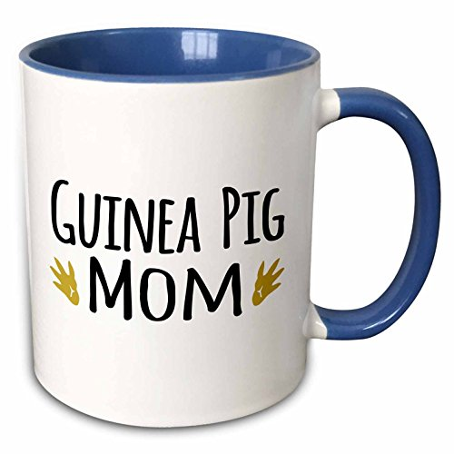 3dRose mug_154048_6 Guinea Pig Mom For Pet owners Family Pets with Brown Paw Prints footprints Two Tone Blue Mug 11 oz BlueWhite