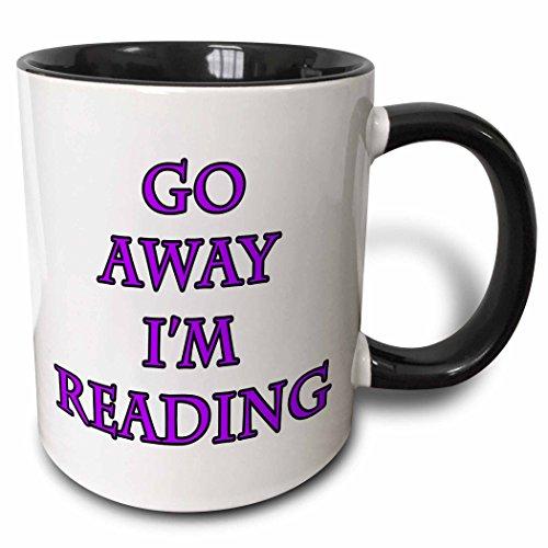 3dRose Go Away Im Reading Purple - Two Tone Black Mug 11oz mug_223978_4 11 oz BlackWhite