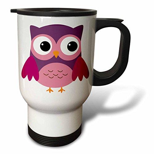 3dRose Cute Purple Owl Stainless Steel Travel Mug 14-Ounce