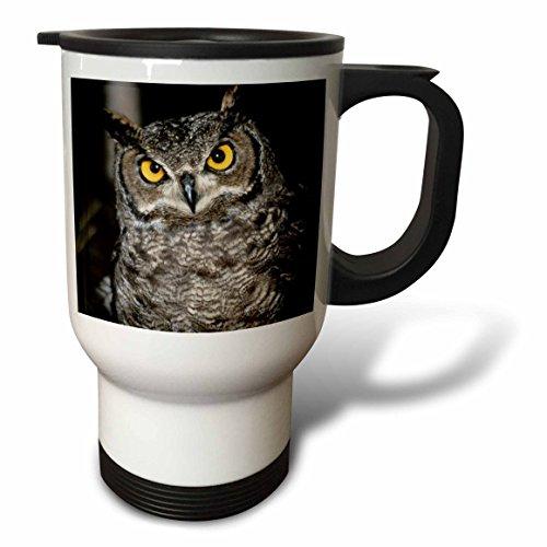 3dRose tm_205979_1 Great Horned Owl-Travel Mug 14 oz Stainless Steel White