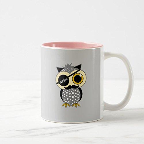 Zazzle Mustache Pirate Owl Travel Mug Pink Two-Tone Mug 11 oz